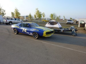 1974 AMC road race Javelin AMX in the paddock at Buttonwillow raceway